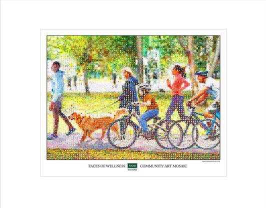 Mosaic of bikers at park